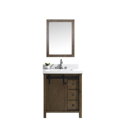 "Image of Marsyas Veluti 30"" Rustic Brown Single Vanity Quartz Top Sink & 28"" Wall Mirror LM343330SKCSM28"