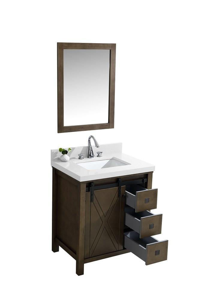 "Marsyas Veluti 30"" Rustic Brown Single Vanity Quartz Top Sink & 28"" Wall Mirror LM343330SKCSM28"