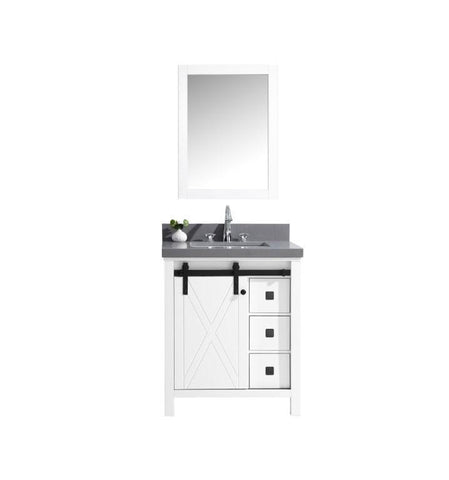 "Image of Marsyas Veluti 30"" Single Vanity Cabinet Grey Quartz Top Sink & 28"" Wall Mirror LM343330SAASM28"