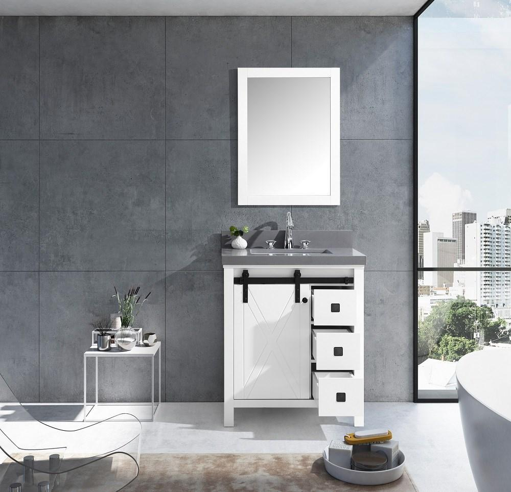 "Marsyas Veluti 30"" Single Vanity Cabinet Grey Quartz Top Sink & 28"" Wall Mirror LM343330SAASM28"