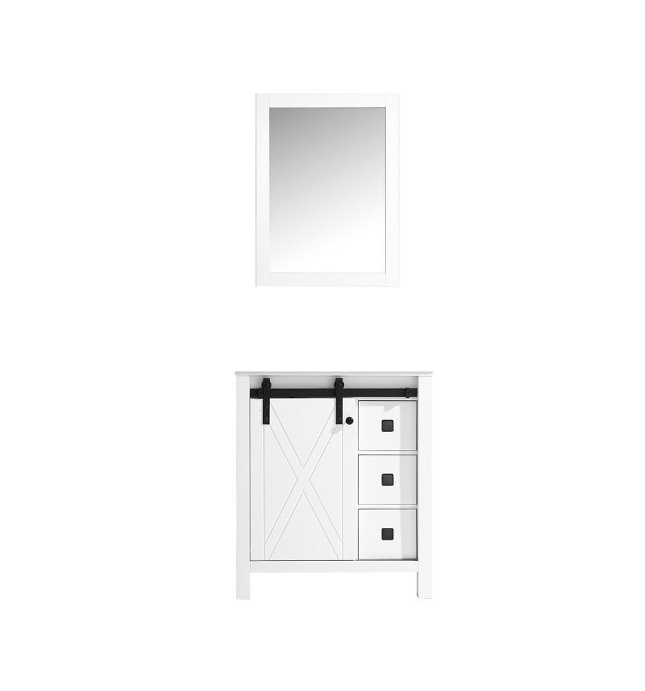 "Marsyas Veluti 30"" Single Vintage Bathroom Vanity Cabinet & 28"" Wall Mirror LM343330SA00M28"