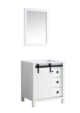 "Image of Marsyas Veluti 30"" Single Vintage Bathroom Vanity Cabinet & 28"" Wall Mirror LM343330SA00M28"