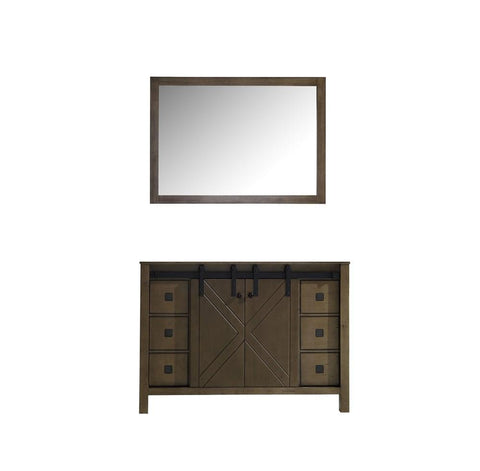 "Marsyas Veluti 48"" Rustic Brown Single Bath Vanity Cabinet & 44"" Wall Mirror LM343348SK00M44"
