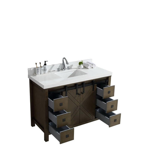 "Image of Marsyas Veluti 48"" Rustic Brown Single Vanity Cabinet Quartz Top Square Sink LM343348SKCS000"