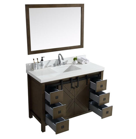 "Marsyas Veluti 48"" Rustic Brown Single Vanity Quartz Top Sink & 44"" Wall Mirror LM343348SKCSM44"
