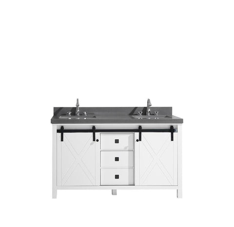 "Marsyas Veluti 60"" Double Bathroom Vanity Cabinet Grey Quartz Top Square Sinks LM343360DAAS000"