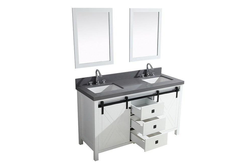 "Marsyas Veluti 60"" Double Vanity Grey Quartz Top Sinks & 24"" Wall Mirrors LM343360DAASM24"