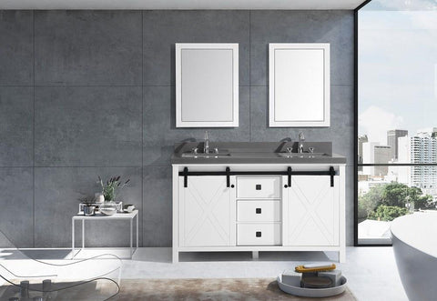 "Image of Marsyas Veluti 60"" Double Vanity Grey Quartz Top Sinks & 24"" Wall Mirrors LM343360DAASM24"