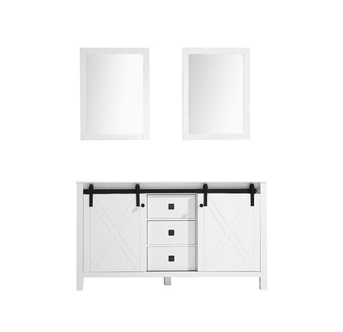 "Image of Marsyas Veluti 60"" Double Vintage Bathroom Vanity Cabinet & 24"" Wall Mirrors LM343360DA00M24"