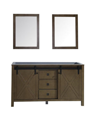 "Marsyas Veluti 60"" Rustic Brown Double Bath Vanity Cabinet & 24"" Wall Mirrors LM343360DK00M24"