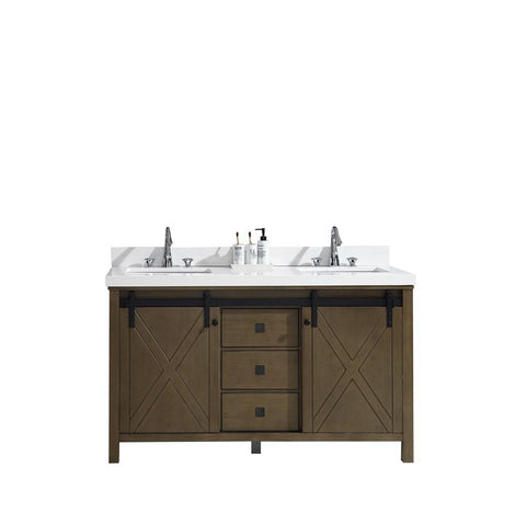 "Marsyas Veluti 60"" Rustic Brown Double Vanity Cabinet Quartz Top Square Sinks LM343360DKCS000"