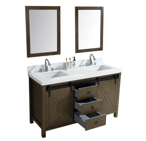 "Image of Marsyas Veluti 60"" Rustic Brown Double Vanity Quartz Top Sinks & 24"" Wall Mirror LM343360DKCSM24"