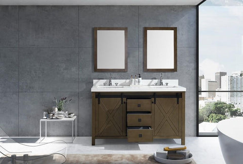 "Marsyas Veluti 60"" Rustic Brown Double Vanity Quartz Top Sinks & 24"" Wall Mirror LM343360DKCSM24"