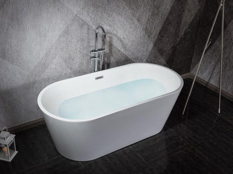 "Melina 59"" Free Standing Acrylic Vintage Freestanding Bathtub w/ Chrome Drain LD900359A1C0000"