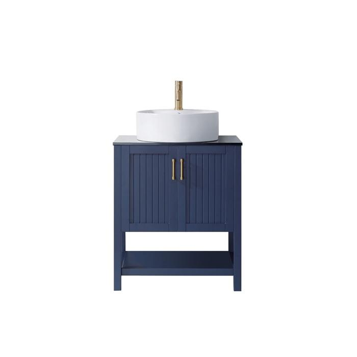 "Modena 28"" Modern Royal Blue Single Vessel Sink Vanity with Glass Countertop"