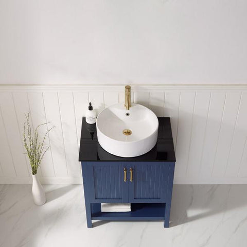 "Image of Modena 28"" Modern Royal Blue Single Vessel Sink Vanity with Glass Countertop"