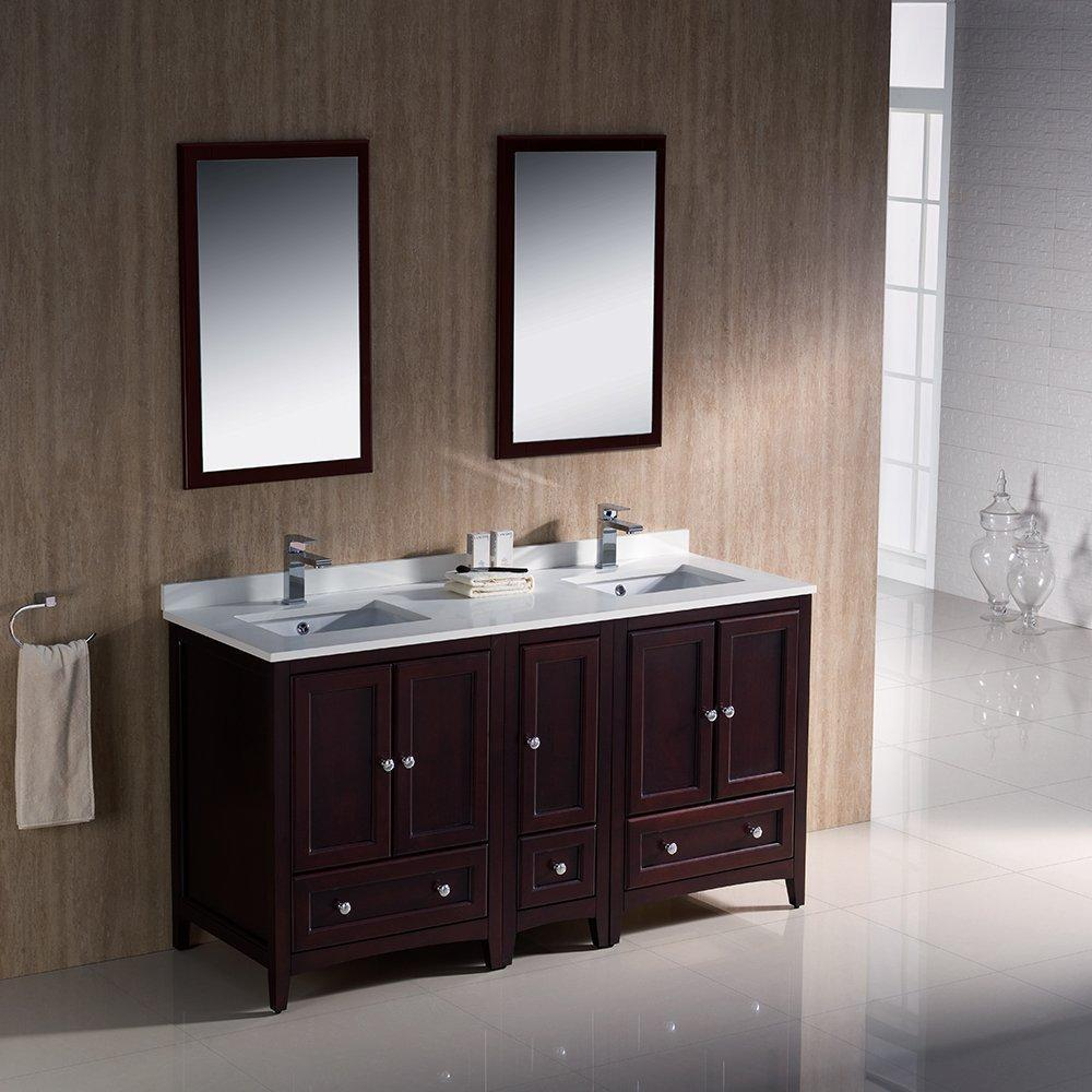 "Oxford 60"" Double Sink Vanity FVN20-241224AW-FFT1030BN"