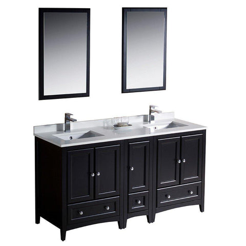 "Image of Oxford 60"" Double Sink Vanity FVN20-241224ES-FFT1030BN"