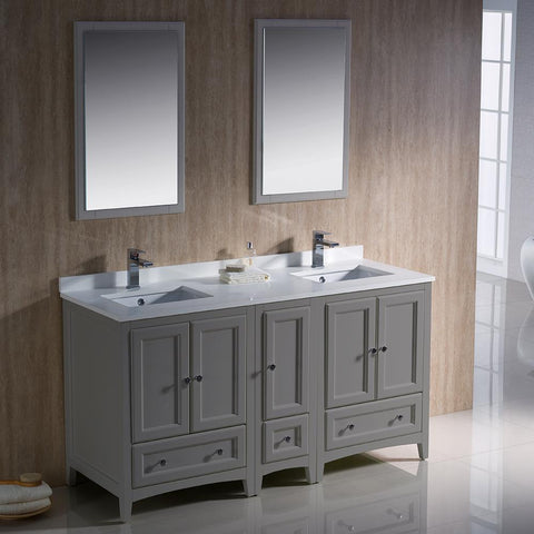 "Image of Oxford 60"" Double Sink Vanity FVN20-241224GR-FFT1030BN"
