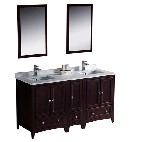 "Image of Oxford 60"" Double Sink Vanity FVN20-241224MH-FFT1030BN"