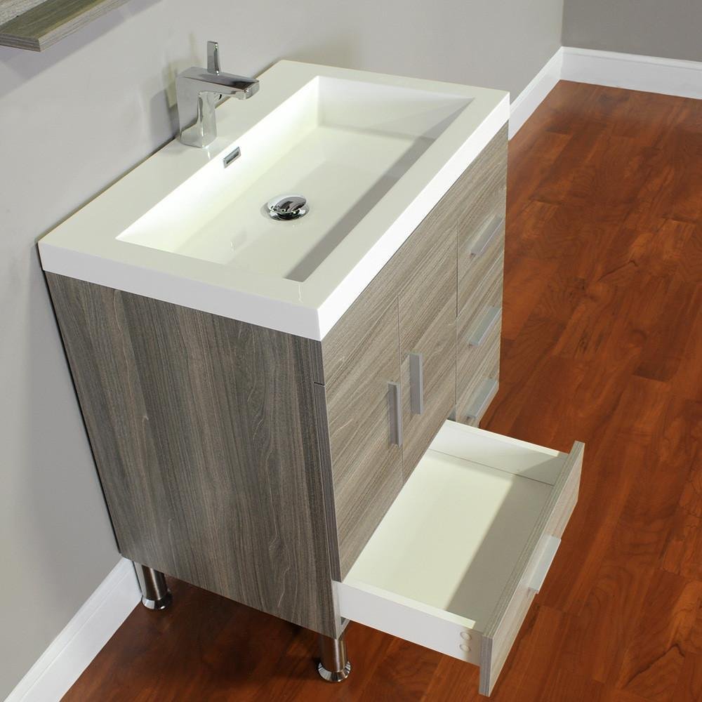 "Ripley Collection 30"" Single Modern Bathroom Vanity - Gray AT-8050-G"