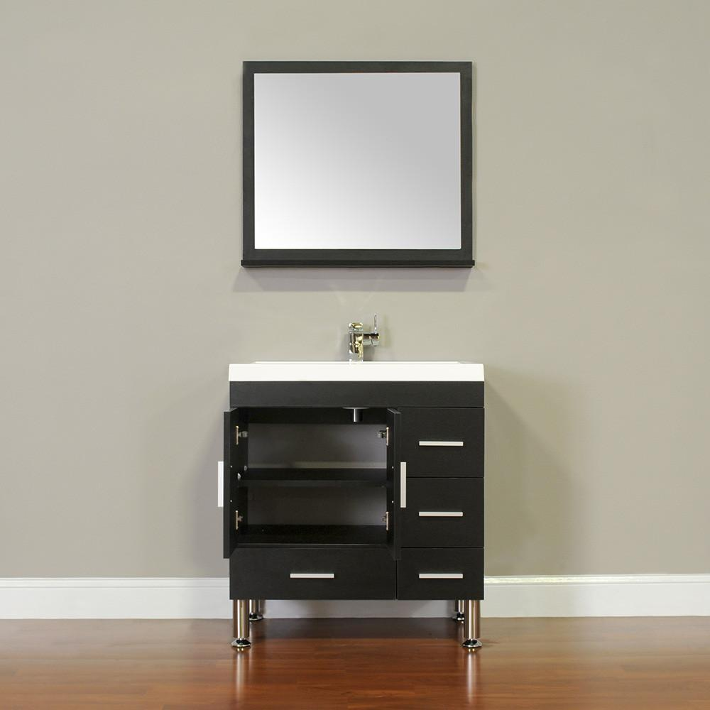 "Ripley Collection 30"" Single Modern Bathroom Vanity with Mirror - Black AT-8050-B-S"