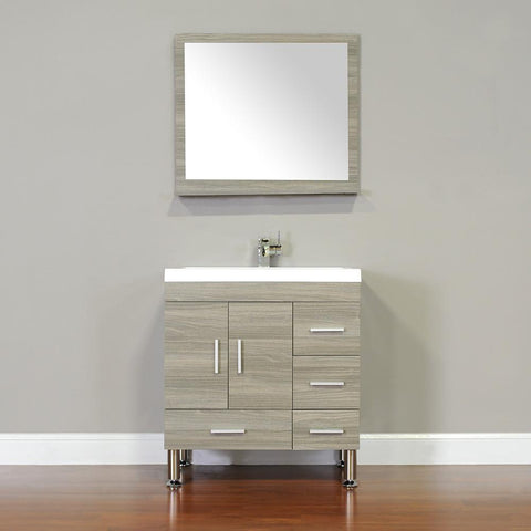"Ripley Collection 30"" Single Modern Bathroom Vanity with Mirror - Gray AT-8050-G-S"