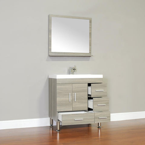 "Image of Ripley Collection 30"" Single Modern Bathroom Vanity with Mirror - Gray AT-8050-G-S"