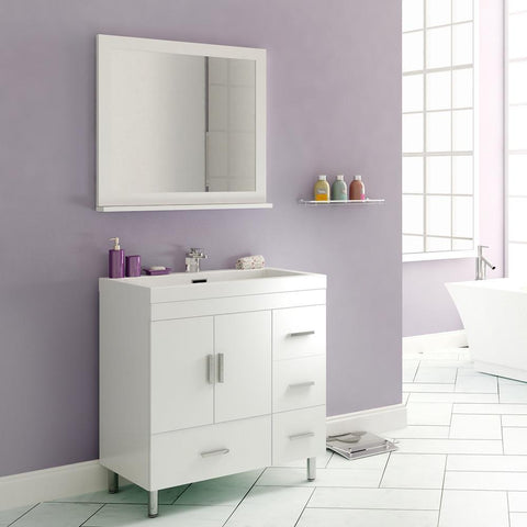 "Image of Ripley Collection 30"" Single Modern Bathroom Vanity with Mirror - White AT-8050-W-S"