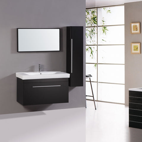 Image of Sink Vanity with Mirror and Side Cabinet- NO FAUCET WT9002