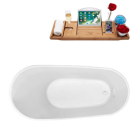 "Image of Streamline 59"" Freestanding Soaking Tub in White 