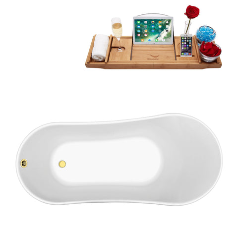 "Image of Streamline 59"" Soaking Clawfoot Tub w/ External Drain N341BL-CH"