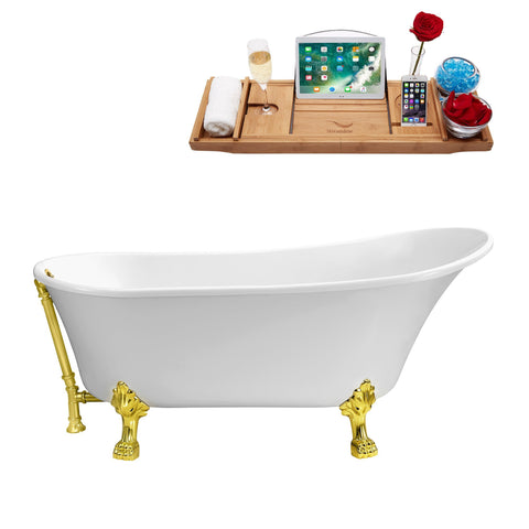 "Streamline 59"" Soaking Clawfoot Tub w/ External Drain N341GLD-GLD"
