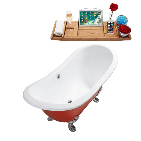 "Image of Streamline 61"" Red Soaking Clawfoot Tub w/ External Drain R5161CH-CH"