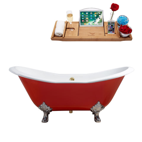 "Streamline 61"" Red Soaking Clawfoot Tub w/ External Drain R5161CH-GLD"