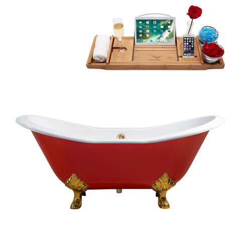 "Streamline 61"" Red Soaking Clawfoot Tub w/ External Drain R5161GLD-GLD"