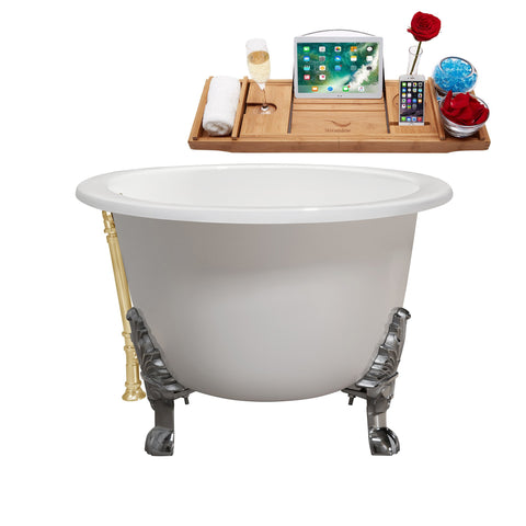 "Image of Streamline 65"" Cast Iron Soaking Clawfoot Tub w/ External Drain R5442CH-CH"