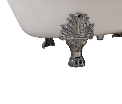 "Streamline 65"" Cast Iron Soaking Clawfoot Tub w/ External Drain R5442CH-CH"