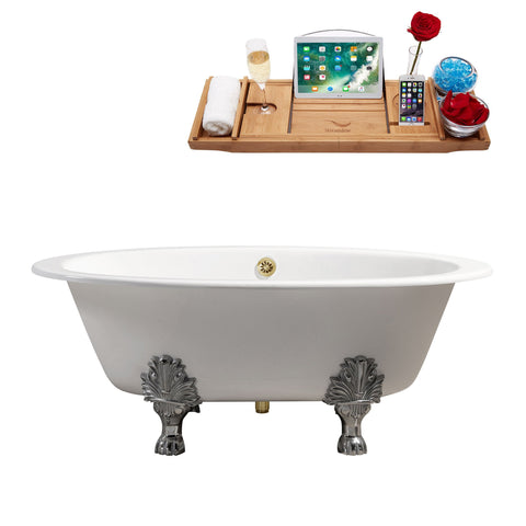 "Image of Streamline 65"" Cast Iron Soaking Clawfoot Tub w/ External Drain R5442CH-GLD"