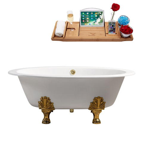 "Streamline 65"" Cast Iron Soaking Clawfoot Tub w/ External Drain R5442GLD-GLD"