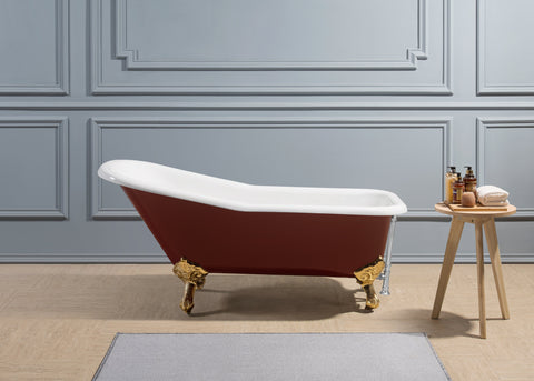"Image of Streamline 66"" Red Soaking Clawfoot Tub w/ External Drain R5280CH-CH"