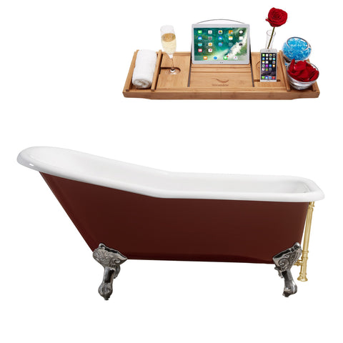 "Streamline 66"" Red Soaking Clawfoot Tub w/ External Drain R5280CH-GLD"