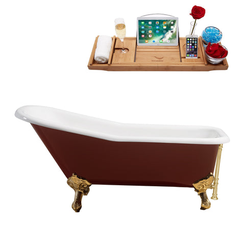 "Streamline 66"" Red Soaking Clawfoot Tub w/ External Drain R5280GLD-GLD"