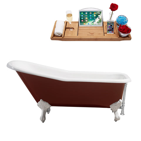 "Streamline 66"" Red Soaking Clawfoot Tub w/ External Drain R5280WH-CH"