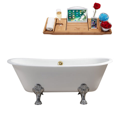 "Streamline 67"" Cast Iron Soaking Clawfoot Tub w/ External Drain R5061CH-GLD"