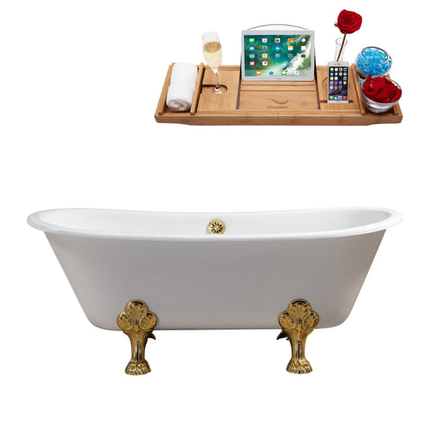"Streamline 67"" Cast Iron Soaking Clawfoot Tub w/ External Drain R5061GLD-GLD"