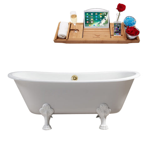 "Streamline 67"" Cast Iron Soaking Clawfoot Tub w/ External Drain R5061WH-GLD"