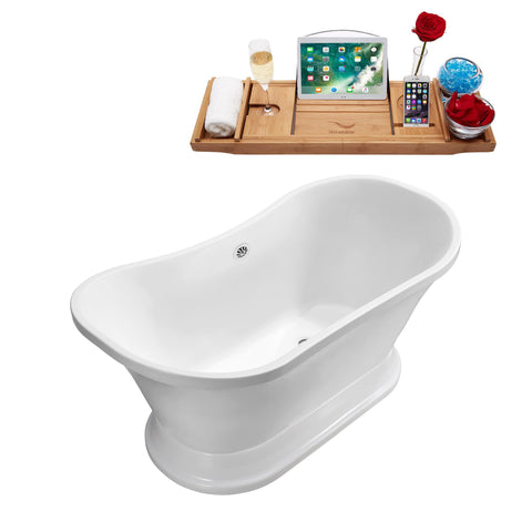 "Streamline 68"" Soaking Freestanding Tub With External Drain 