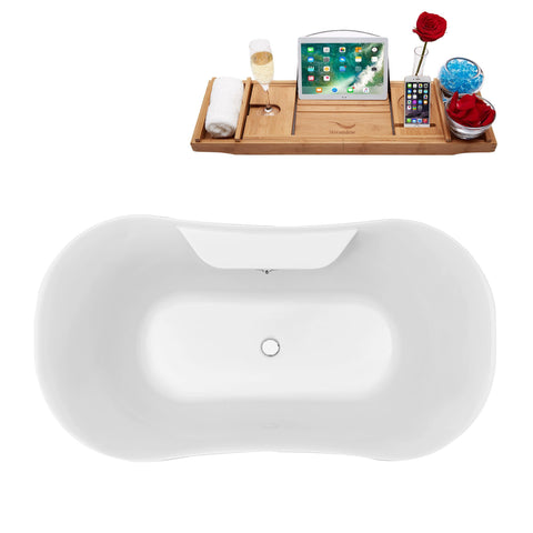 "Image of Streamline Soaking Clawfoot 60"" Tub in White w/ External Drain Set N100BL-CH"