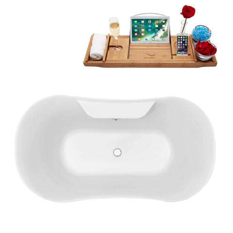 "Streamline Soaking Clawfoot 60"" Tub in White w/ External Drain Set N100CH-CH"
